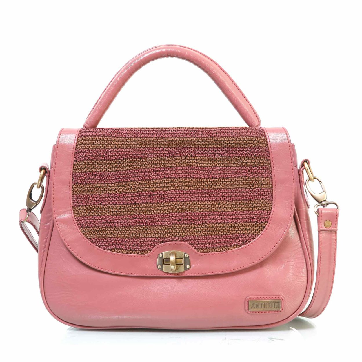 Fuschia eliane leather bag
