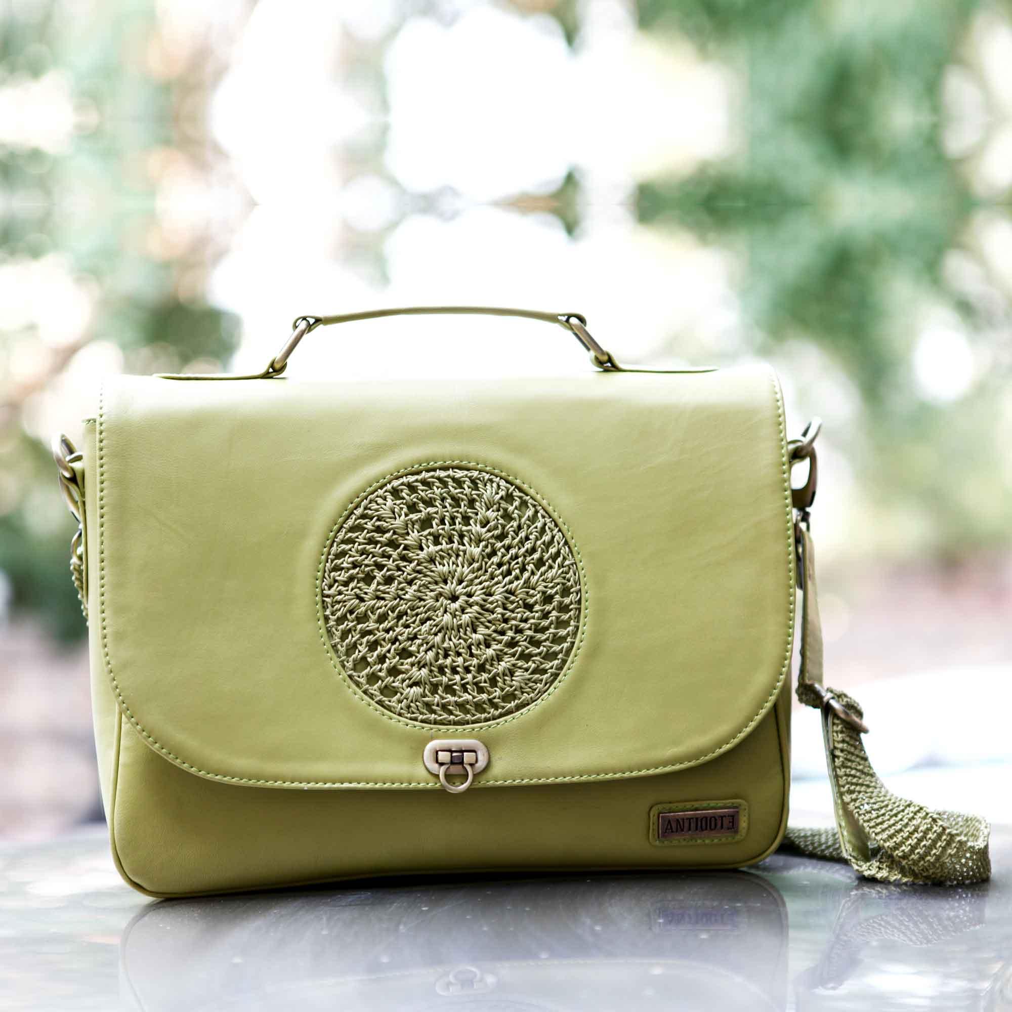 Mireille green leather handbag