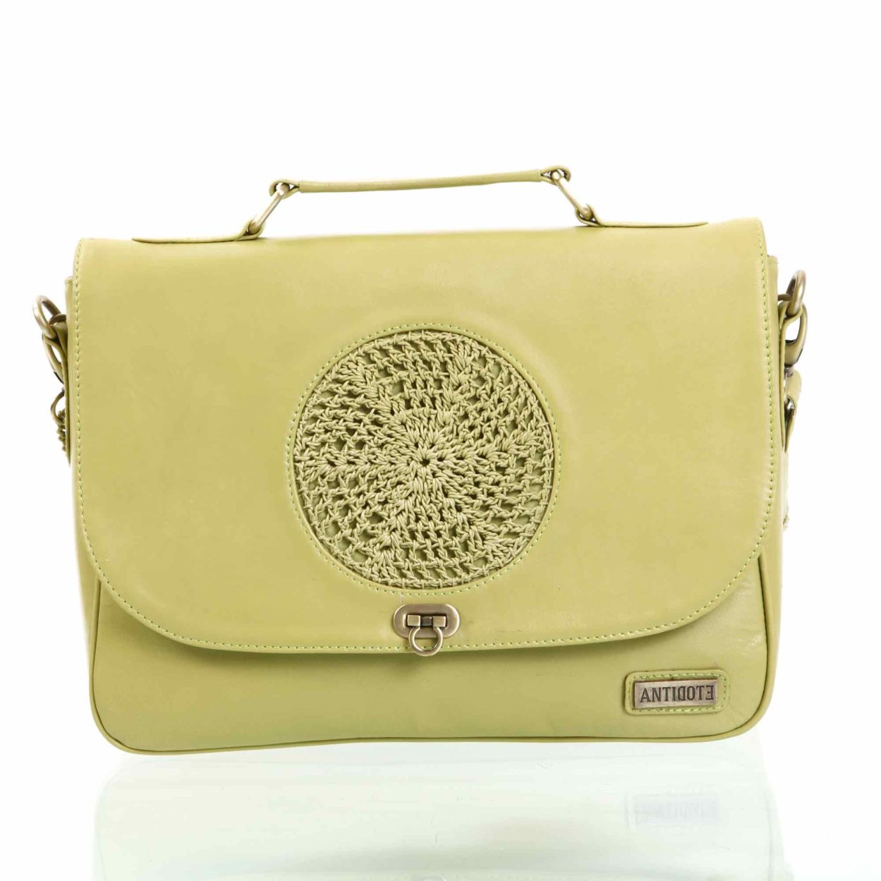 Mireille green leather handbag